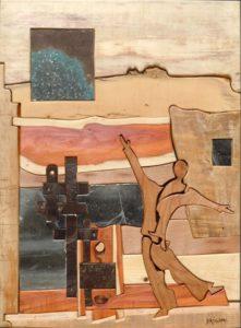 """Tableau de Brignac """"Immensité"""" en bois qui représente bien le parcours de Cathy Cubeau Thérapeute énergéticienne"""